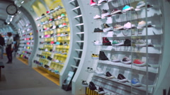 Sports Shoes in the Shop. Stock Footage