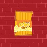 tasty potato chips snacks theme - stock illustration