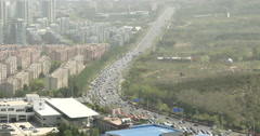 4k timelapse china urban city busy traffic jams,business building,air pollution - stock footage
