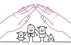 big hands and cartoon family - roof - stock illustration
