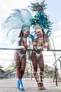 Samba dancers leaning on railing, Rio De Janeiro, Brazil Stock Photos