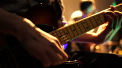 Stage ambient on a concert. Man playing guitar. - stock footage