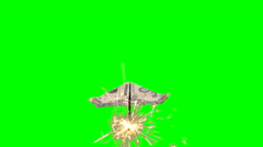Rocket Dollar Paper Plane Flying with Chroma Green Background Stock Footage