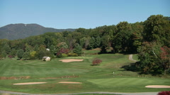Mountain Golf Course on Bright Sunny Day Stock Footage