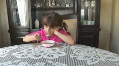 Girl Eats Breakfast Cereal Stock Footage