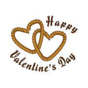 Brown rope valentine day theme Stock Illustration