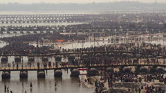 Aerial View of Kumbh Mela Festival in Allahabad, India Stock Footage