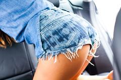 Close up of female buttock, Hermosa Beach, California, USA - stock photo