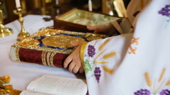Open Bible on a church bench Stock Footage