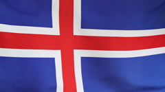 National flag of Iceland in slow motion Stock Footage
