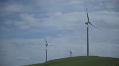 Three massive turbines in a Californian wind farm Stock Footage