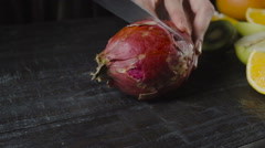 Chef Cuts Pitahaya On Dark Wooden Table Stock Footage