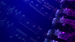 Musical notes composition background, infinity LOOP. Stock Footage