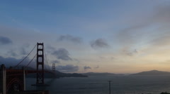 Rapidly moving cloud time lapse over Golden Gate Bridge Stock Footage