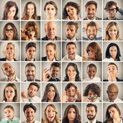 Collage emotion of people Stock Photos