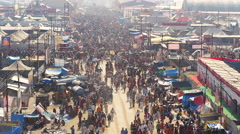 Aerial View of Kumbh Mela Festival in Allahabad, India - stock footage