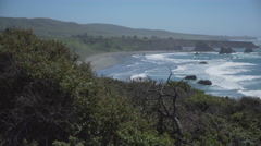 Right pan of the windswept coast of Big Sur Stock Footage