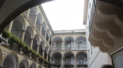 The tiered arcades courtyard of Lviv Stock Footage
