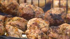 Meat Barbecue Pork With Spices on Skewers Big Roasts on the Grill - stock footage