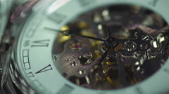 Clock closeup, eternal engine of human life, good and bad memories, thoughts Stock Footage