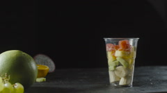 Slices of Pitahaya Add a Fruit Cocktail Cup Stock Footage