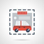 Purchase car flat color design vector icon - stock illustration