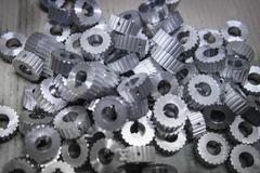 Large group of engineered steel parts in factory Stock Photos