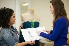 Fashion design students in discussion Stock Photos
