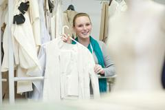 Fashion design student in class - stock photo