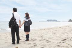 Young couple holding hands on beach, rear view - stock photo