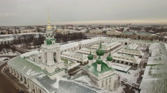 Aerial shot of Church in Kolomna city. Russia. Architechture ensemble. Stock Footage