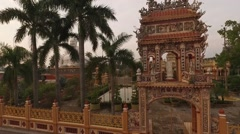 Buddha Temple. Aerial Long Shot. Stock Footage