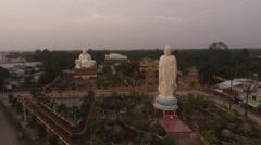 Buddha Temple. Aerial Panoramic Long Shot. Stock Footage