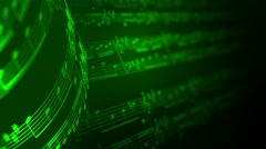 Music notes background in green, LOOP. Stock Footage