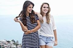 Portrait of two female friends, Casa Alto Vidigal, Rio De Janeiro, Brazil Stock Photos