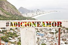 View of Ipanema beach from Casa Alto Vidigal, Rio De Janeiro, Brazil - stock photo