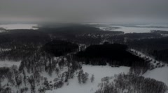 Aerial shot of Village in the Dark Forest. Russia. Stock Footage