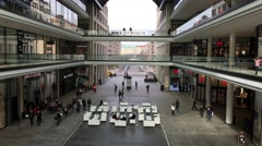 Long shot shopping centre in Berlin Stock Footage