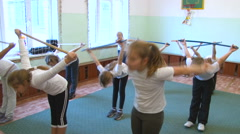 Many Girls do Exercise in Gym Class. Sport. Children, Scool, Education Stock Footage