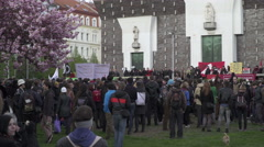 Crowd at the anti-fascism protest organized by volunteers in Prague - stock footage