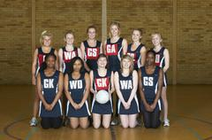 Portrait of netball team - stock photo