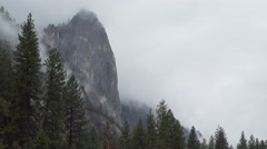 Wide view of storm in Yosemite infront of El Capitan - stock footage