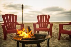 Campfire on Mission Beach, San Diego, California, USA - stock photo