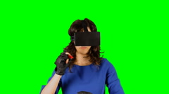 Virtual reality girl chroma marker writing Stock Footage