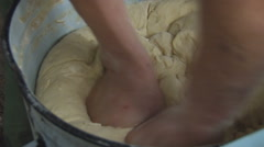 Knead the Dough With Both Hands. Cooking. Closeup Stock Footage