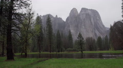 Right pan of stormy El Capitan - stock footage