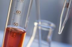 Chemical lab glassware: graduated cylinder, Erlenmeyer flask with stirring rod, Stock Photos