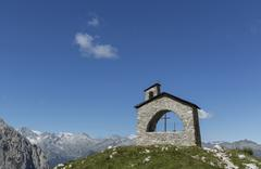 Stone chapel in the mountains, Brenta Dolomites, Italy Stock Photos