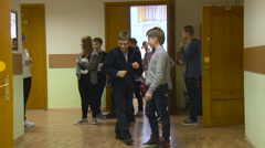 Time Between Lessons. Students Dally. Boys and Girls in the School. Children, Stock Footage