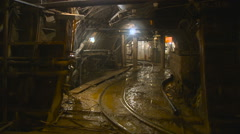 Catacombs. Railway. Dampness. Underground Construction of Subway Tunnel Stock Footage